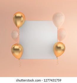Illustration of glossy golden, beige balloons and white paper on pastel colored background. Empty space for birthday, party, promotion social media banners, posters. 3d render realistic balloons