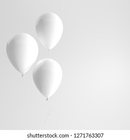 Illustration of glossy white balloons on white background. Empty space for birthday, party, promotion social media banners, posters. 3d render realistic balloons
