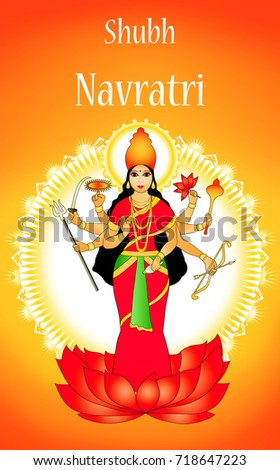 Illustration goddess durga on greeting card stock illustration illustration of goddess durga on greeting card for navratri festival with message shubh navratri meaning happy m4hsunfo