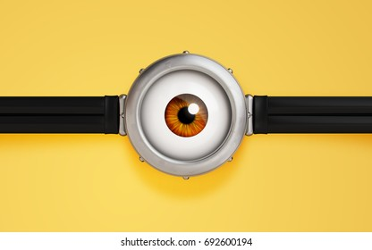 illustration of goggle with one eye on yellow color background. 3d render