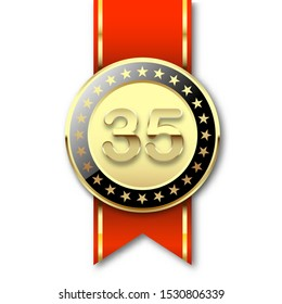 Illustration Gold medal with date 35 and red ribbon isolated on a white background. Birthday symbol
