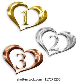 illustration of gold, silver, bronze medals in the shape of heart