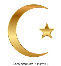 illustration of gold star and crescent