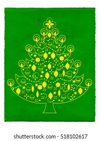 Illustration of a golden christmas tree on green paper background.