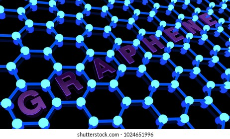 Illustration of a Golden crystal lattice of graphene, graphene blurred by depth of field, in the background. Image technologies of the future, of the superconductor. 3D rendering on white background