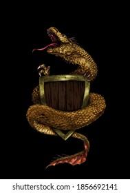 illustration golden dragon with black background