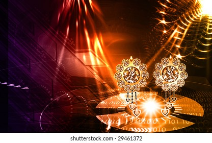 Illustration of golden earring with diamond