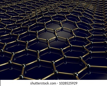 Illustration of a Golden graphene crystal lattice curved on a black surface. The idea of hydrocarbon nanotechnology, superconductor and super accumulator, water filter. 3D rendering