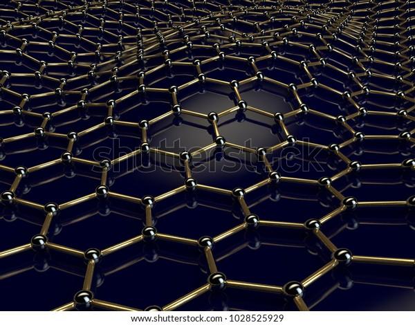 Illustration Golden Graphene Crystal Lattice Curved Stock