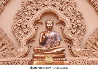 Illustration of golden meditating lord buddha sculpture on decorative floral pattern emboss pattern background 3D wallpaper. Graphical modern artwork