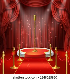 illustration with golden microphone on podium, red curtains. Stage for stand up, performance or lecture. Public scene for speech of orator. Illuminated pulpit for conference