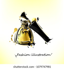 illustration of golden nail polish. Gold style.  Fashion illustration. Beauty and fashion.