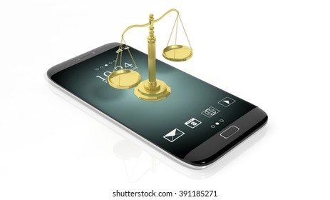Illustration of golden scales on cell phone. White background