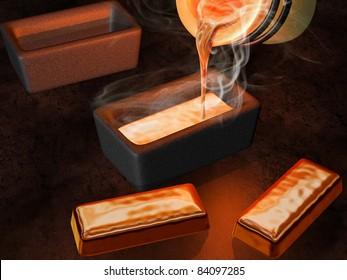 Illustration of a goldsmith casting gold into ingot moulds