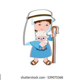 Illustration of good shepherd cartoon design. Raster copy.