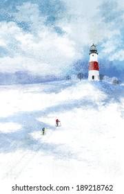 Illustration of gorgeous landscape and lighthouse