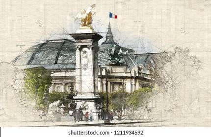 Illustration of Grand Palais in Paris, France