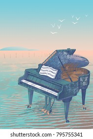 Illustration of grand piano on the beach