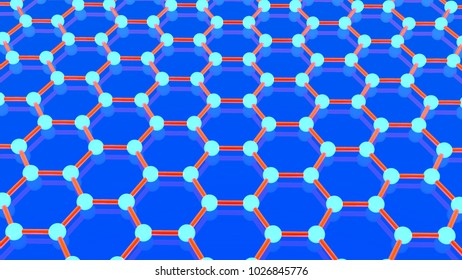 Illustration of graphene molecule, luminous atoms. The crystal lattice of graphene, the molecular form of carbon on a blue background. 3D rendering. Super battery and superconductor of the future.