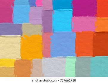 illustration graphic design geometric color block pattern background with rough paper texture background