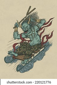 Illustration of graphical Japanese funny daemon