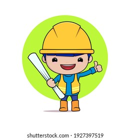 illustration graphics image of construction worker with building  site plan,best for illustration book,element posters,etc