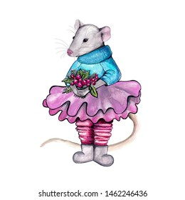 illustration of a gray rat in a sweater