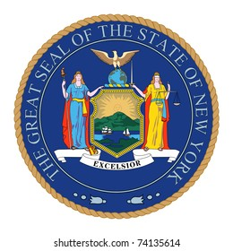 Illustration of the Great Seal of the State of New York, America.