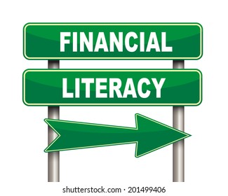 Illustration of green arrow and road sign of Financial literacy
