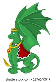 Illustration of an green dragon king with a golden crown and a red cape, isolated on a white background