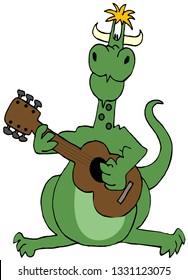 Illustration of a green dragon strumming a guitar.