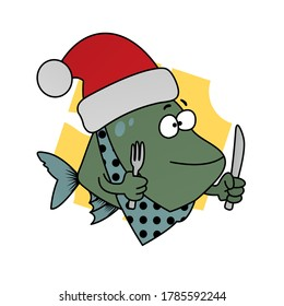 Illustration of Green Fish Holds a Knife and Fork and Wears a Santa Hat Cartoon, Cute Funny Character, Flat Design