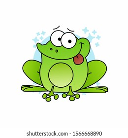 Illustration of Green Frog Pull Out Tongue Cartoon, Cute Funny Character, Flat Design
