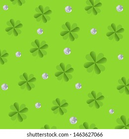 Illustration of green leafs and crystal daimond isolated green background