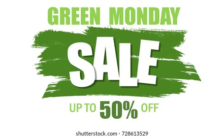 Illustration of Green Monday sale banner. Green Monday sale background with green grunge brush effect. Shopping Discount promotion. Poster, card, flyer, label trendy design.
