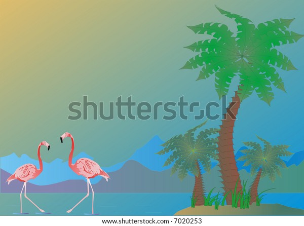 illustration with green palms and red flamingo