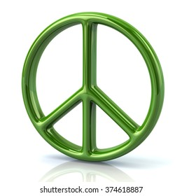 Illustration of green peace symbol isolated on white background