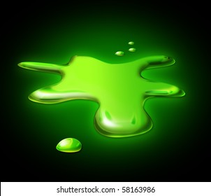 Illustration of green toxic spilled on the floor