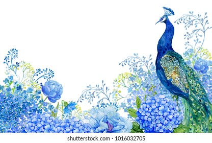 illustration for greeting cards, big bird and peacock blue flowers .watercolor hand painting