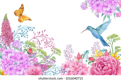 illustration for greeting cards, big bird Hummingbird yellow butterfly and flowers .watercolor hand painting