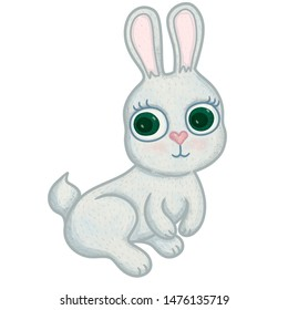 Illustration of grey rabbit with big green eyes for children's products design