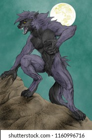 Illustration of a grey werewolf with full moon