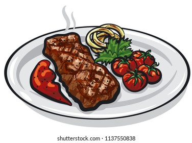 illustration of grilled roasted steak with vegetables on plate