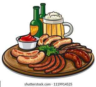 illustration of grilled sausages on woodwen plate and beer