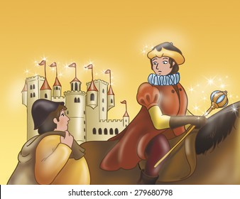 Illustration for Grimm's fairy tale Rumpelstiltskin. The prince on his horse is talking with a miller near a magic castle.