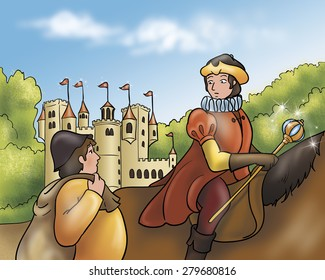 Illustration for Grimm's fairy tale Rumpelstiltskin. The prince on his horse is talking with a miller near an ancient castle.