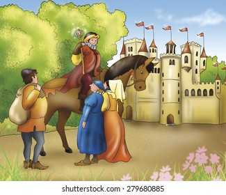 Illustration for Grimm's fairy tale Rumpelstiltskin. The prince on his horse is talking with some fellows near his castle.