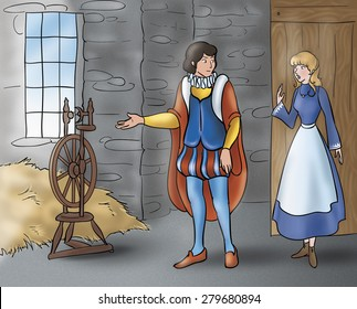 Illustration of Grimm's fairy tale Rumpelstiltskin. The prince is talking with a beautiful young girl in an ancient room.