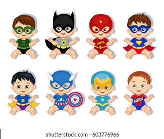 Illustration  group of cute babies boys in costumes of superheroes. Raster copy.