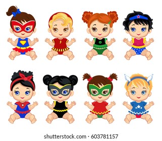 Illustration  group of cute babies  girls  in costumes of superheroes. Raster copy.